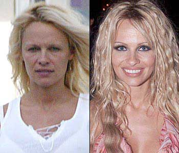 pamela anderson with and without makeup and a blow dry